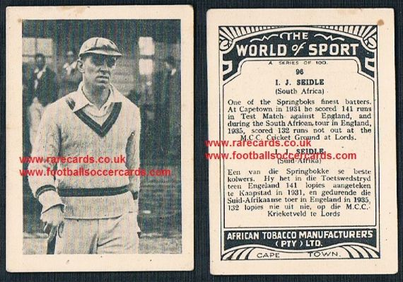 1930's South African Tobacco Cape Town World of Sport cricket card Jack Seidle 96